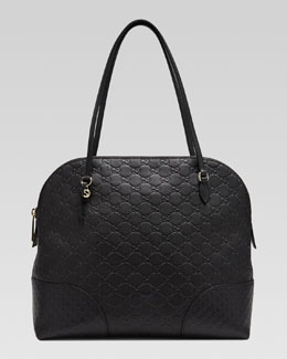 Gucci Bree Guccissima Leather Top Handle Bag, Black
