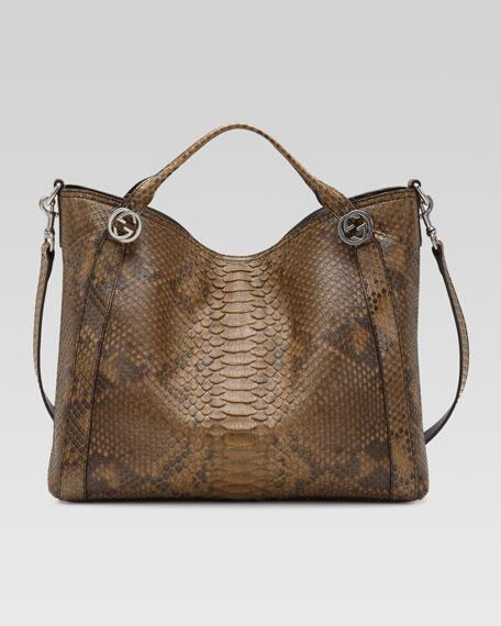 Miss GG Python Top Handle Bag, Brown