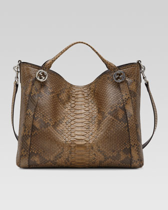 Miss GG Python Top Handle Bag, Brown