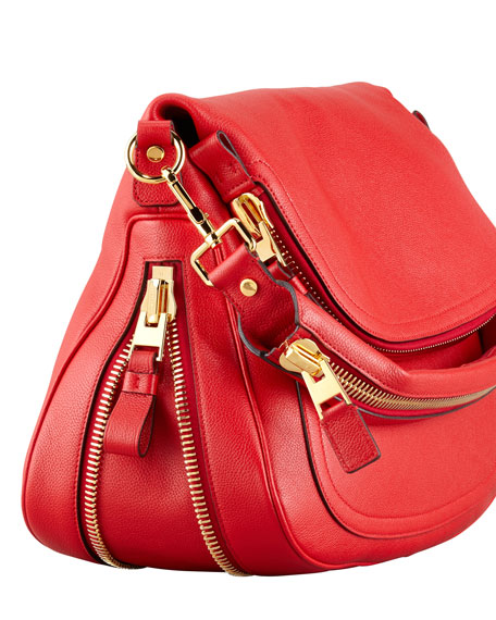 Jennifer Calfskin Shoulder Bag, Flame Red