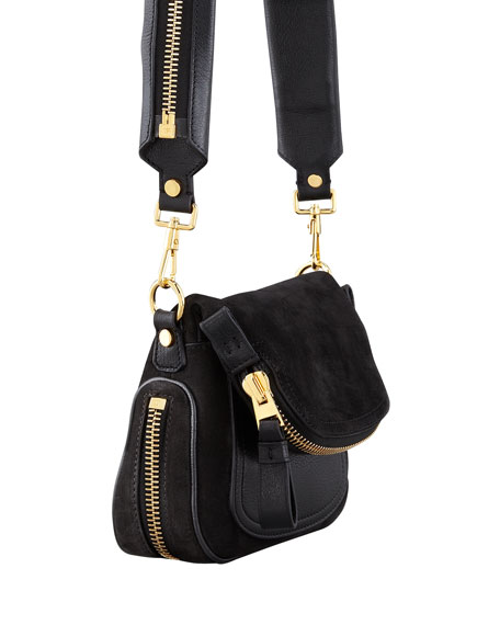 Jennifer Suede Mini Crossbody Bag, Black