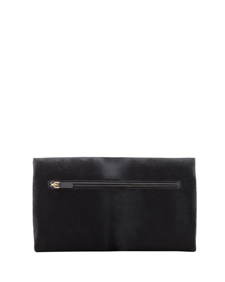 Natalia Soft Calf Hair Turn-Lock Clutch Bag, Black