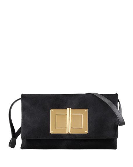 Natalia Soft Calf Hair Turn-Lock Clutch Bag, Black