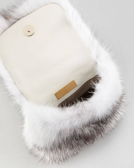 Mink Fur Bracelet Bag, Chalk