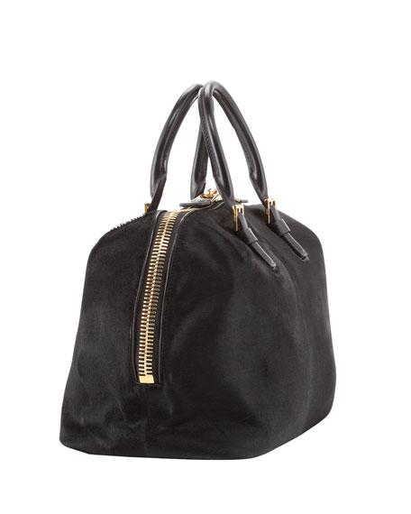Calf Hair Buckle Satchel Bag, Black