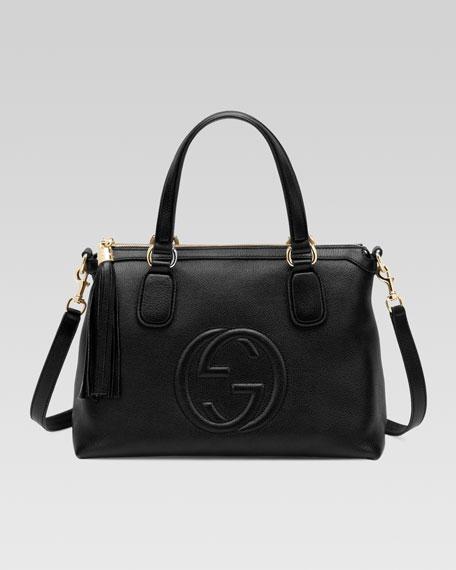 Soho Leather Top Handle Bag, Black