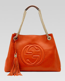 Gucci Soho Leather Medium Chain-Strap Tote, Orange
