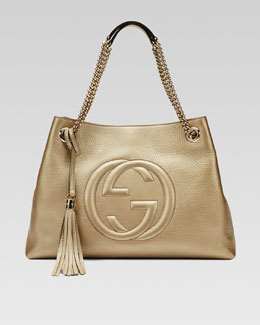 Gucci Soho Metallic Leather Tote Bag, Champagne