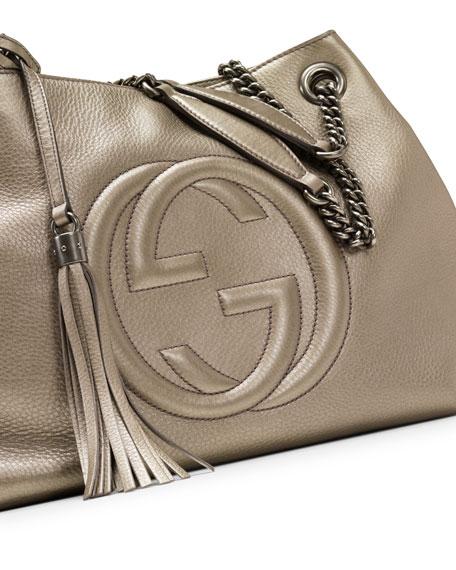 Soho Metallic Leather Shoulder Bag, Gunmetal