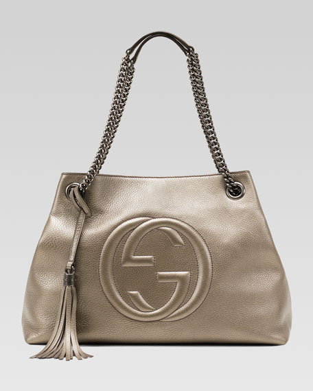 708ef8b66eb Gucci Soho Metallic Leather Shoulder Bag