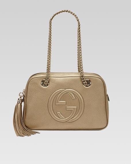Soho Metallic Leather Shoulder Bag, Champagne