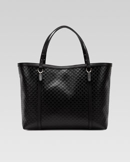 Gucci Gucci Nice Microguccissima Leather Tote, Black