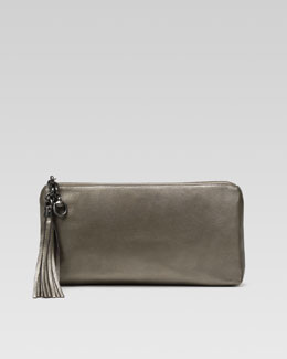Gucci Broadway Metallic Leather Evening Clutch, Gunmetal