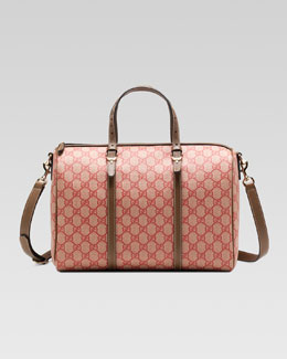 Gucci Gucci Nice GG Supreme Canvas Boston Bag, Red/Brown