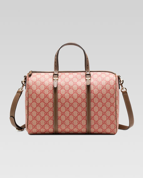 Gucci Nice GG Supreme Canvas Boston Bag, Red/Brown