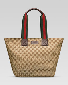 Gucci Original GG Canvas Tote with Signature Web Straps, Brown