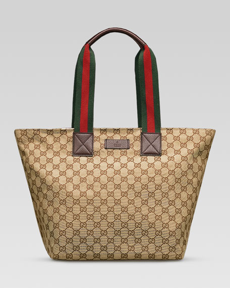 f1a8387ce6f9 Gucci Original GG Canvas Tote with Signature Web Straps, Brown