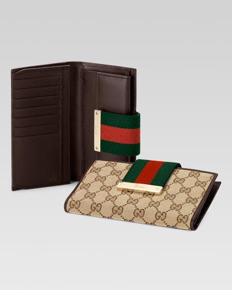 b40918f8d8dc Gucci Ladies Web Metal Bar Continental Wallet, Brown