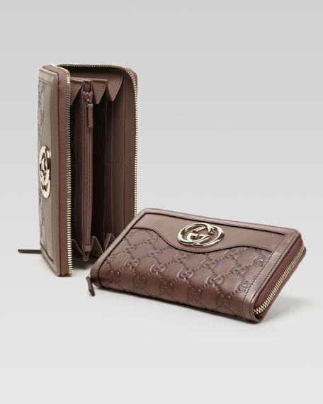 Sukey Guccissima Leather Zip Around Wallet, Mauve