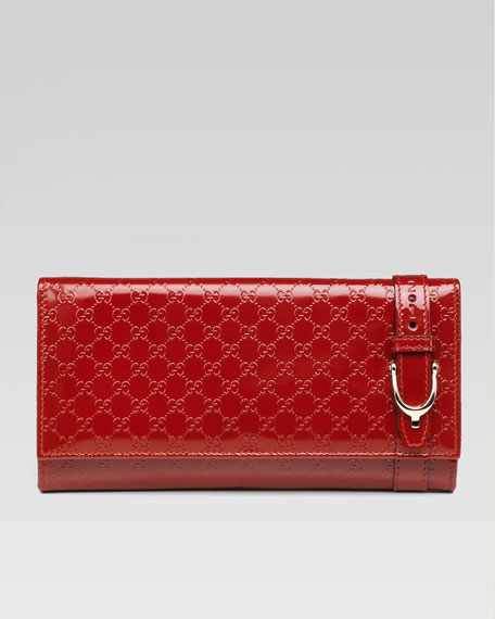 Gucci Nice Patent Microguccissima Continental Wallet, Red