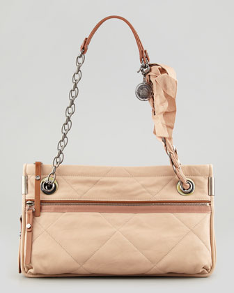 Amalia Medium Quilted Shoulder Bag, Neutral
