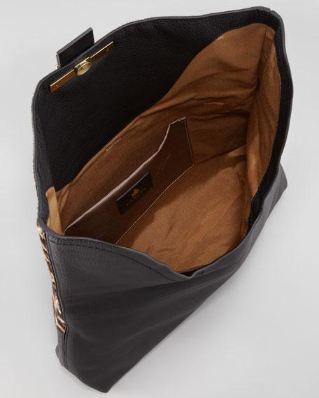 Leopard Calf Hair Fold-Over Clutch Bag
