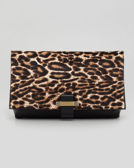 Leopard Calf Hair Fold-Over Clutch Bag