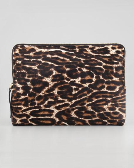 Large Leopard-Print Fur Wristlet Clutch
