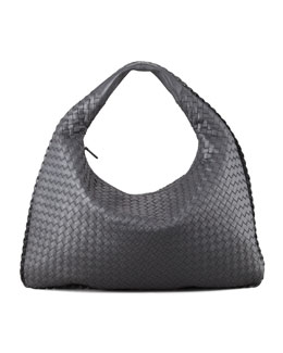 Bottega Veneta Intrecciato Woven Large Hobo Bag, Charcoal