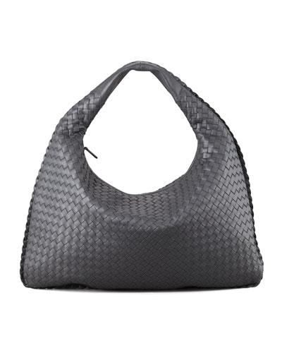 Intrecciato Woven Large Hobo Bag, Charcoal