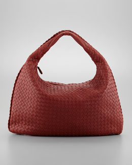 Intrecciato Woven Large Hobo Bag, Dark Red