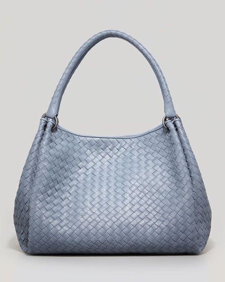 Medium Woven Double-Strap Tote Bag, Blue