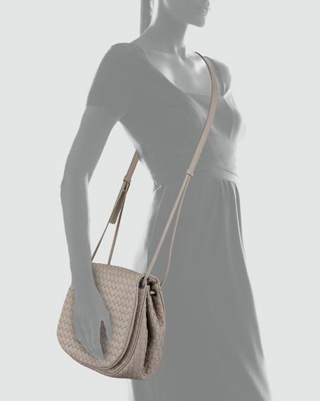 Woven Leather Crossbody Messenger Bag, Gray