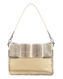 Bottega Veneta Medium Snake & Lambskin Shoulder Bag, White