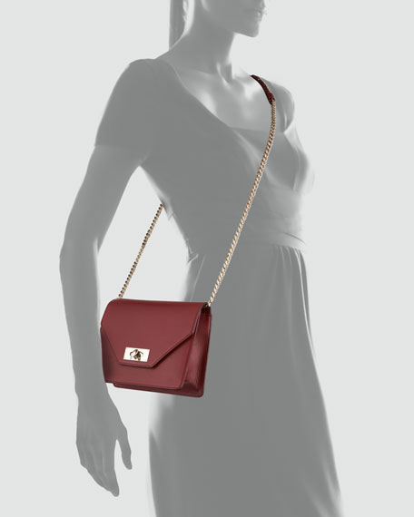 Shark Flap-Top Crossbody Bag, Burgundy