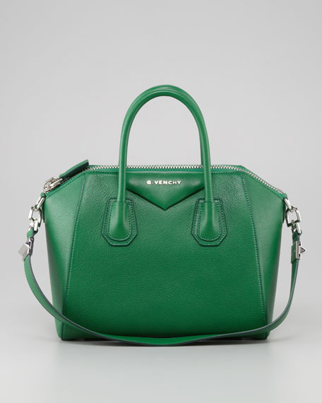 Antigona Small Sugar Goatskin Satchel Bag, Emerald Green