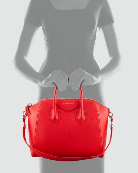 Antigona Medium Sugar Goatskin Satchel Bag, Red