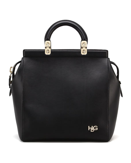 HDG Top Handle Small Leather Tote Bag, Black