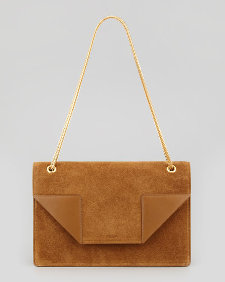 Betty 2 Medium Suede Chain Shoulder Bag, Tan