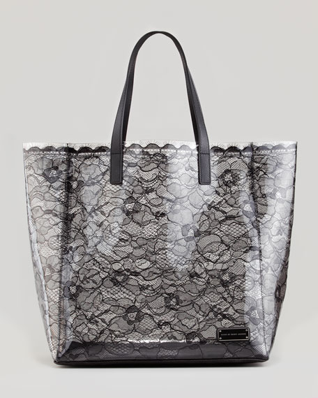Medium Coated-Lace Tote Bag, Black