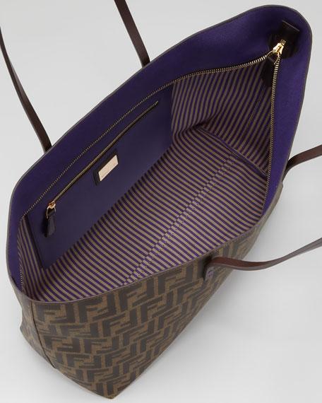 Zucca East-West Zip Tote Bag, Brown/Purple
