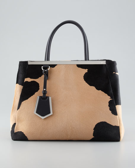 2Jours Calf Hair Tote Bag, Black/Beige