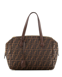 Fendi Zucca Triple-Zip Baulotto Bag, Brown