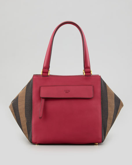 Pequin Small Striped Satchel Bag, Red