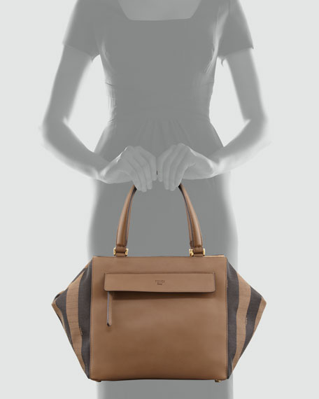 Pequin-Striped Medium Satchel Bag, Brown