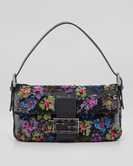 Fendi Baguette Medium Floral Sequin Bag, Black/Multi