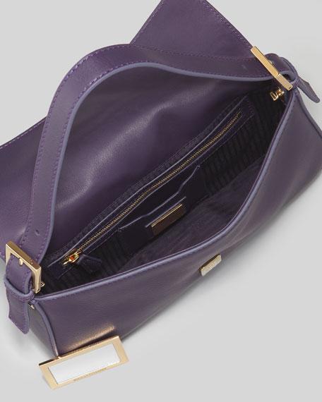 Leather Medium Baguette Bag, Amethyst