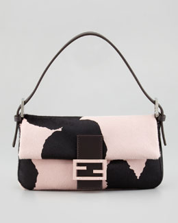 Fendi Printed Calf Hair Medium Baguette, Black/Pink