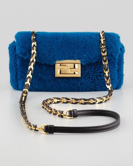 Mini B Shearling Fur Baguette Bag, Blue/Black