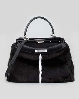 Fendi Peekaboo Mink Tote Bag, Black